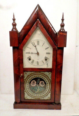 Early 1870's Atkins Striking Steeple Clock With Complete Label Intact