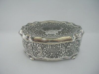 Embossed Antique Silverware Trinket Jewellery Ring Earring Box Wilcox USA c1860s