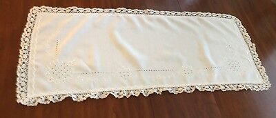 Antique White Linen Runner,Scarf,Cut Work Embroidery, Cluny Lace Trim, Scalloped