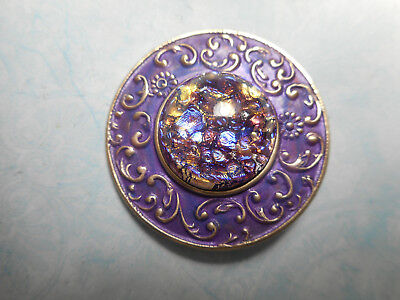 "Purple Foiled Glass Jewel Center Brass Vintage Button 1-3/8"" Gay 90's Style"