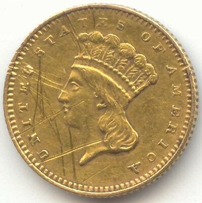Type 3 Gold Dollar, No Date, XF Details, True Auction, No Reserve
