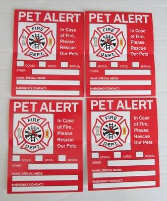 Lot/4 Fire Department Pet Alert Stickers-In Case of Fire Rescue our Pets-Dog/Cat