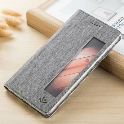 Sackcloth Style Window View Wallet Flip Stand Case Cover for Huawei P20 Lite/Pro