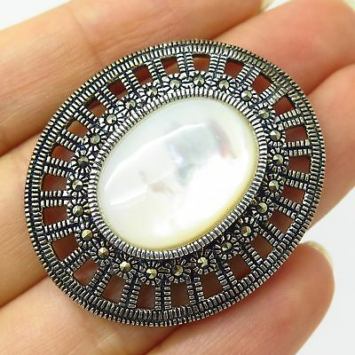 925 Sterling Silver Real Mother-Of-Pearl & Marcasite Gemstone Oval Pin Brooch