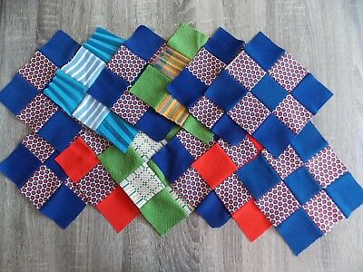 "Set Of 12 Vintage Hand Made Double Knit Quilt Blocks 8"" Squares"