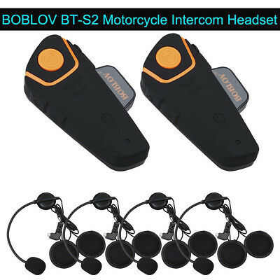 BOBLOV BTS2 Motorcycle 1KM Intercom Interphone Bluetooth Riding Headset Wireless