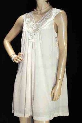 NOS Vintage 60s 70s M NYLON LACE GILEAD NUDE SHEER USA SHIFT GOWN NEW NIGHTGOWN