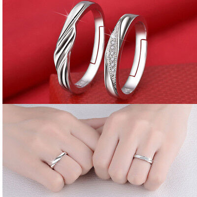 e0a7229f8b 2Pcs Silver Lovers Crystal Couple Ring Her and His Promise Rings Set  Adjustable