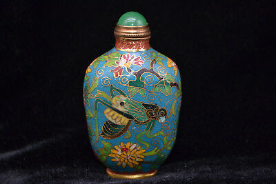 Chinese Old Cloisonne Painting Flower & insect antique Unique Rare snuff bottle