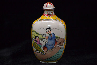 Chinese Vintage Handwork Old Cloisonne Painting figure Rare Antique snuff bottle