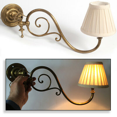 Antique Brass Wall Mounted Swing Reading Light Edwardian / Victorian Style Desk
