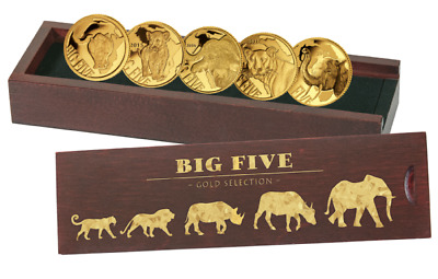 Big Five 2018 999.9 Goldmünzen Mini Kollektion 5x 100 Francs 2013 - 2018 PP