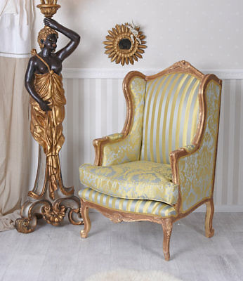 Wing Chair Baroque Side Wings Chair tv-chair kaminsessel Antique