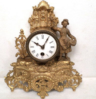 French Victorian 1890 Lady Statue Clock