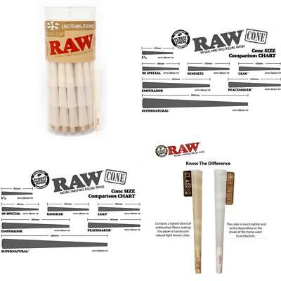 Raw Organic 1 1/4 Pure Hemp Pre-Rolled Cones With Filter 75 Pack Papers
