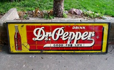 """Very RARE 1940s DR PEPPER Large Embossed Metal SIGN....""""GOOD FOR LIFE"""""""