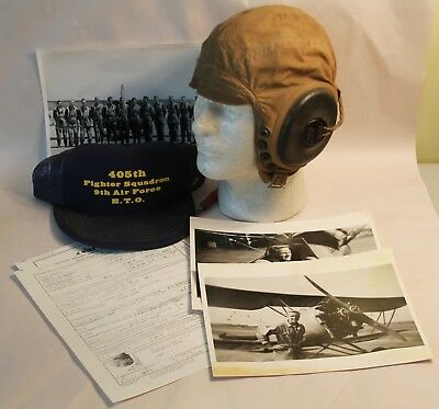 WW2 U.S. Army 405th Fighter Squadron 9th AAF Pilots Summer Helmet, Photos & Docs