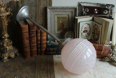 A Vintage French Art Deco Mottled Pink Glass Globe Shade Ceiling Pendant Light
