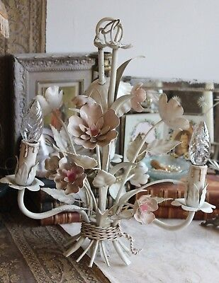A Pretty Vintage French Toleware Metal Flower Ceiling Light Chandelier