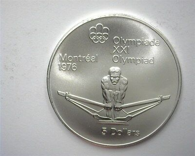 Canada 1974 Silver 5 Dollars -Rowing, 1976 Olympics- Near Perfect Uncirculated