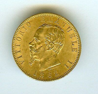 Italy 1862-Tbn Gold 20 Lire  Uncirculated+