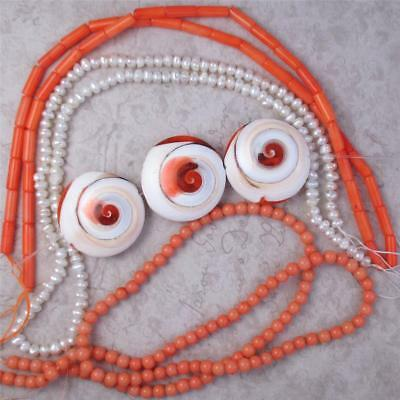 WHOLESALE LOT -Coral, Tubes, Rounds and 3 Shiva Eye Puff Disk FOCALs +Pearls
