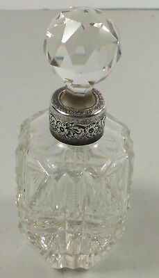 Vintage Hand Cut Glass Perfume Bottle W/ Stopper & Engraved Sterling Silver Band