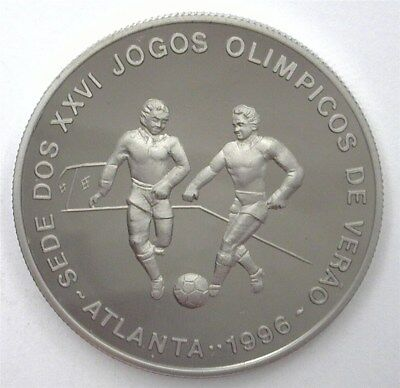 St. Thomas (1993) 1000 Dobras Olympic Soccer Km#55 Near Perfect Proof Dcam
