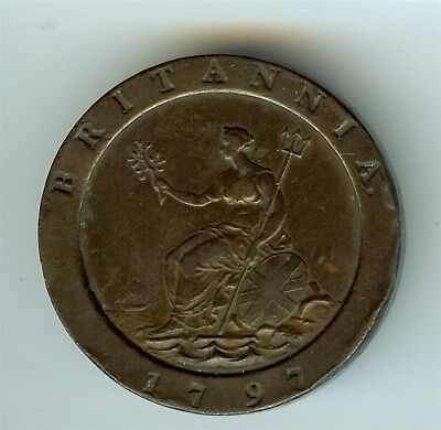 Great Britain 1797 2 Pence Km#619 Near Choice Uncirculated Brown