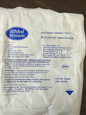 Lot of 4: Med Stream Dressing Change Trays, Reorder No: MSDC-014226A, Exp 1/2017