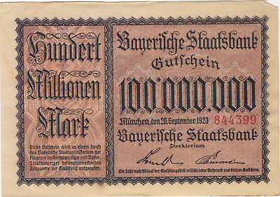 1923 100 Million Mark Germany Currency German Banknote Note Bill Cash Bayerische