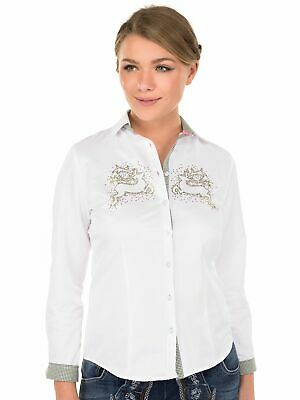Orbis Traditional Costume Blouse Streamy Long Sleeve Clamop Motiv White