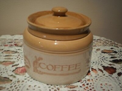 Bendigo Pottery Australia Heritage Collection Mustard & Cream Coffee Canister