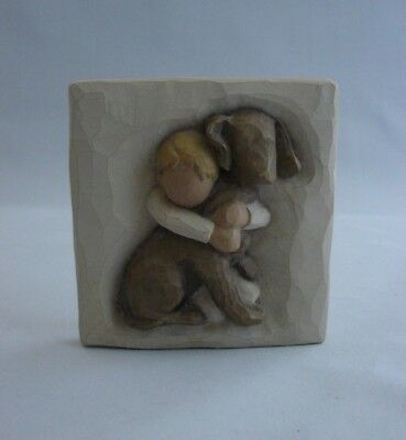"2003 Willow Tree Susan Lordi ""HUG"" Boundless Love Plaque, Hugging Dog Demdaco 4"""