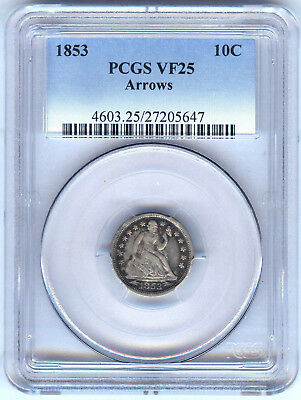 1853 Arrows Seated Liberty Dime Pcgs Vf25