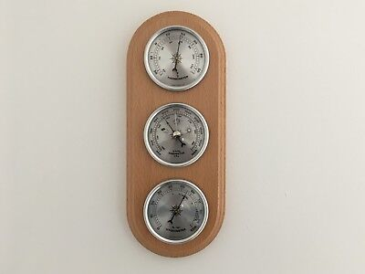 Weather Station Barometer Thermometer Hygrometer Wood Base Wall Mounting New