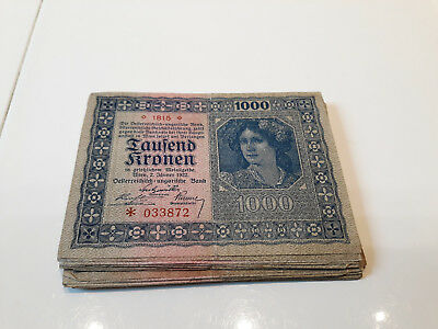 35 Pieces 1000 Kronen From Austria 1922! Mixed Grades Collection,lot!fine-Ef