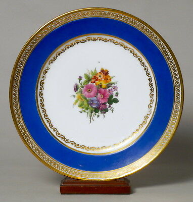 Beautiful Antique French Feuillet Porcelain Cabinet Plate, Flower Painted #1