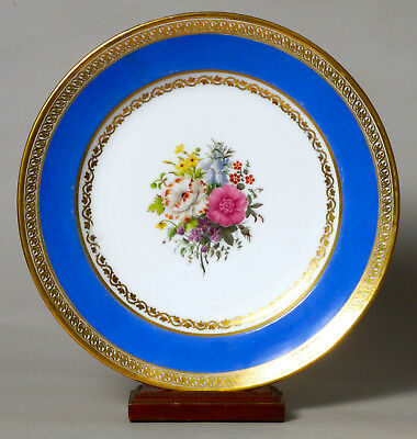 Beautiful Antique French Feuillet Porcelain Cabinet Plate, Flower Painted #3