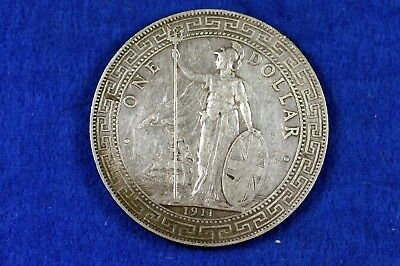 1911 - One Chinese Trade Dollar Coin/Brittania/Trident!!  #H11655