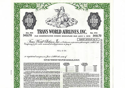 Trans World Airlines Inc. $ 1.000,00 6 1/2% Subord.Inc.Deb. von 1961
