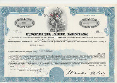 United Air Lines Inc. 1967 $ 5.000,00 5% Subord.Debenture, blau