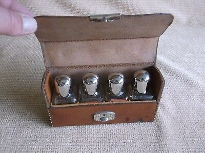 antique 4 glass medicine bottles/vials in leather case, pharmaceutical, science