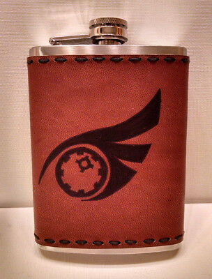 8oz Hip Flask Qrow Cosplay Prop - Hand Wrapped Genuine Leather - RWBY Anime