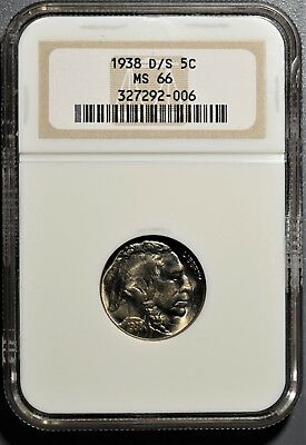 1938-D/s Buffalo Nickel 5C Five Cents Ngc Ms 66 Gb117