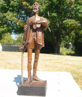 Vtg Ouro Artesania Don Quixote Hand Carved Wood Statue Figure Spain Antique Old