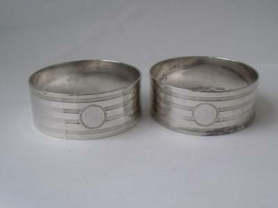 Smart Pair of Solid Sterling Silver Napkin Rings 1919/ H 1.8 cm/ 45 g
