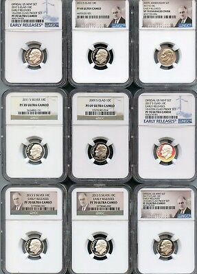 Mixed Lot Roosevelt Dimes (9 Pieces) NGC PF69/PF70 Ultra Cameo (As Pictured) 116