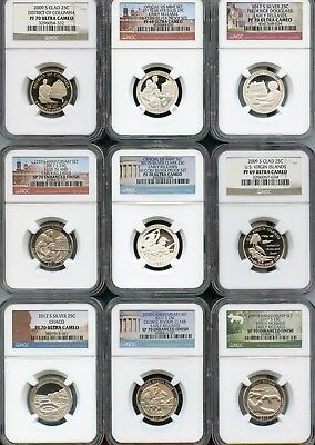 Mixed Lot Quarters (9 Pieces) NGC PF69/70 Ultra Cameo (As Pictured) 120