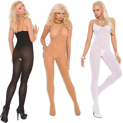 Plus Size Lingerie One Sz Queen Black Nude or White Opaque Bodystocking  EM1601Q